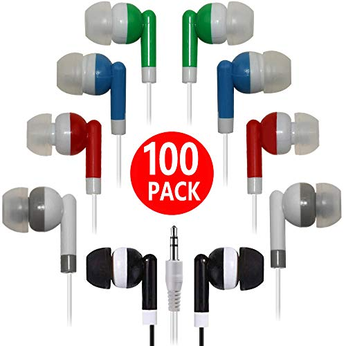 Bulk Earbuds 100 Pack Multi Colored for Classroom,HONGZAN
