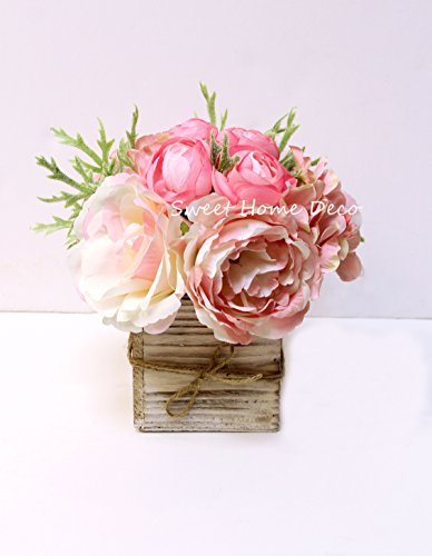 Sweet Home Deco 8'' Silk Rose Peony Hydrangea Mixed Flower Arrangement w/ Wood Vase Wedding Home Decorations (Light Pink) (Flower Arrangements Peony)
