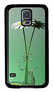 Green Flowers PC Black Hard Case Cover Skin For Samsung Galaxy S5 I9600