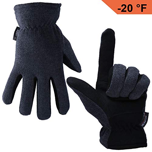 - OZERO Deerskin Suede Leather Palm and Polar Fleece Back with Heatlok Insulated Cotton Layer Thermal Gloves, X-Large - Grey-Black