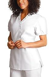 Adar Uniforms Adar Universal Baby Doll Ruffle Top - 616 - White - Xl