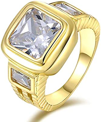 da8ebd3d73479 Men's Yellow Gold Plated Topaz Gemstone Ring (Solitaire S-Z) Size US ...