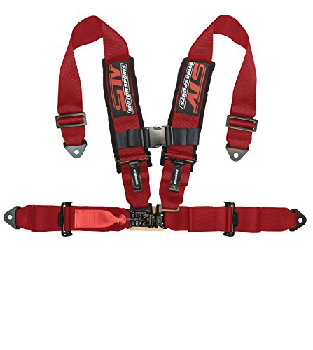 STV Motorsports V-Type 4 Point Racing Harness Latch and Link 3 inch Safety Seat Belt for Off-Road racing, UTV, Trucks, Side by Side 1PC (Red)