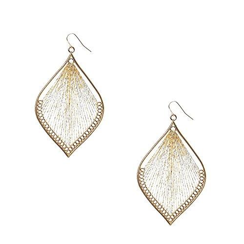 Icing Women's Gold Tone Metallic Dreamcatcher Drop Earrings - Metallic Dreamcatcher