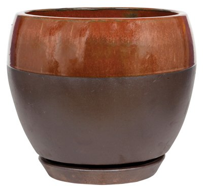 - ATT SOUTHERN CRM-031123 Ceramic Egg Planter with Saucer, Kendall/Copper, 8-in. - Quantity 2
