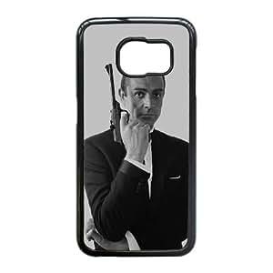 007 James Bond 001 caso del teléfono celular 10 funda Samsung Galaxy S6 Edge funda Y0O3OFYVIE negro
