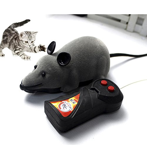 Giveme5 Wireless Remote Control Mock Fake Rat Mouse Mice RC Toy Prank Joke Scary Trick Bugs for Party and For Cat Puppy Funny Toy (Gray)