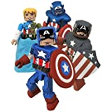 Marvel Minimates Exclusive Mini Figure 4Pack Captain America Through the Ages World War II, Suspended Animation, Armored Reborn