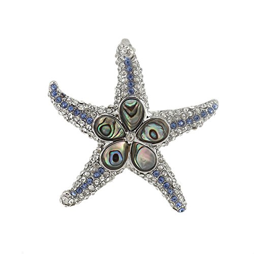 Sinymilk Natural Abalone Shellfish Starfish Pendant Crystal Diamonds Patrick Star Necklace]()