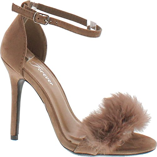 Forever Link Fluffy Feather Furry Strap High Heel Open Toe Dress Sandal