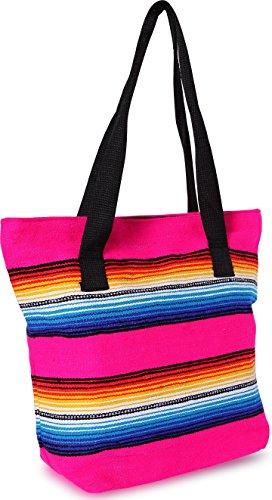 - Handwoven Serape Tote Bag Sturdy woven cotton straps. Large Eco Friendly Tote Bag,Vibrant Colors, zipper closure and interior pickets (Pink)