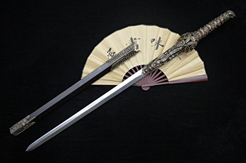 Chinese sword/Seven Swords Youlong jian/Damascus steel blade/Carved dragon-shaped brass fittings/Ebony Scabbard/Length 41