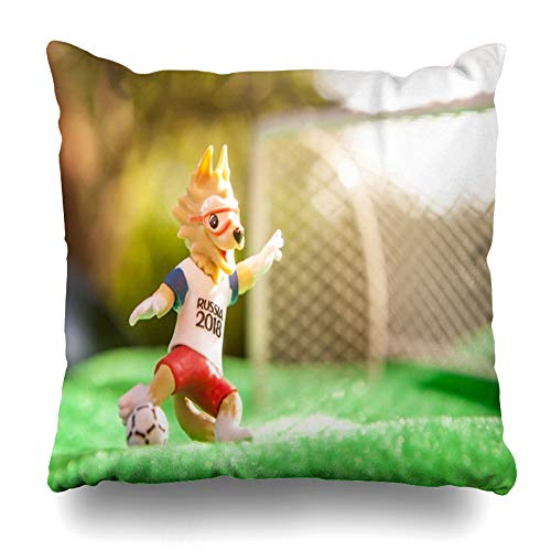 Darkchocl Daily Decoration Throw Pillow Covers Russia Saint June Wolf FIFA World Cup Square Pillowcase Cushion for Couch Sofa or Bed Modern Quality Design Cotton and Polyester 18