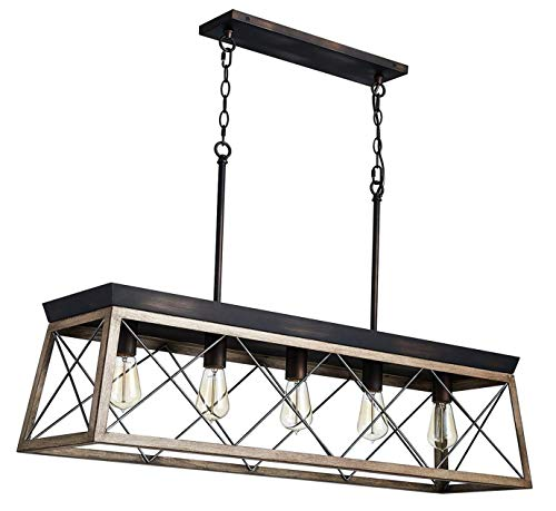 Saint Mossi Antique Bronze Oaky Painted Metal Island Lighting Stardust Distressed Finish Network Shade 5 Lights, Kitchen Island Chandeleir Lighting Rustic Vintage Farmhouse Industrial Country Style (Saints Billiards)