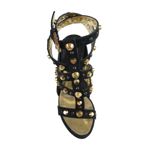 Dsquared Para Mujer De Cuero De Gamuza Tiras De Metal Con Tachuelas Decoradas Sandalias De Plataforma Zapatos Negro