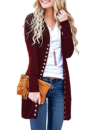 Cucuchy Open Front Cardigans for Women, Comfy Solid Clothing Flattering Single Button Outwear Bright Color Autumn Vogue Outwear Feminine Clothes Work Wear with Buttons Red Medium