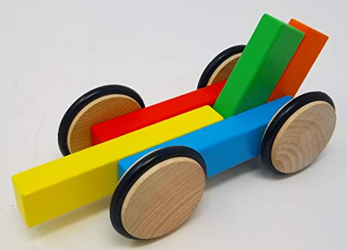 (Magz Wooden Magnetic car containing 4 Magnetic Wooden Wheels and 5 Magnetic Wooden Blocks)