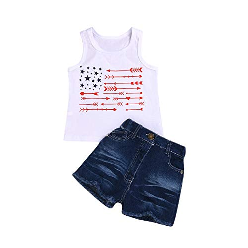 Baby Girl Boy 4th of July Star Arrow Sleeveless Vest Tops Shorts Jeans Independence Day Set (White, 3-4 Years)