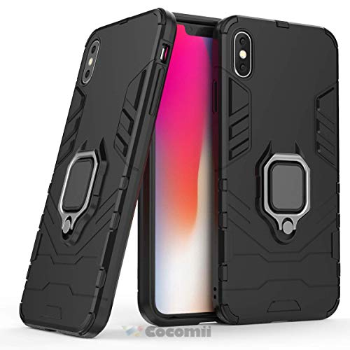 Cocomii Black Panther Armor iPhone Xs Case New [Heavy Duty] Tactical Metal Ring Grip Kickstand Shockproof Bumper [Works with Magnetic Car Mount] Full Body Cover for Apple iPhone Xs (B.Jet ()