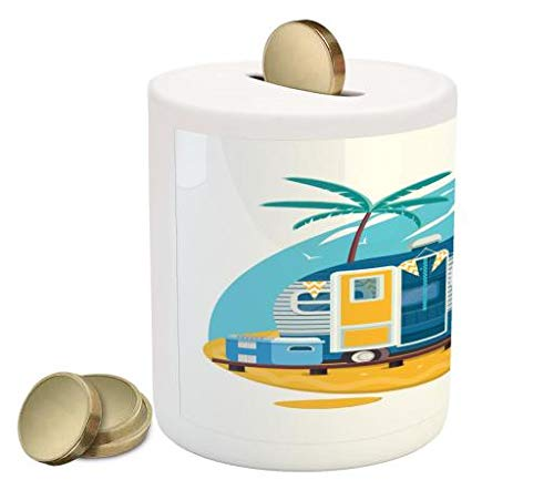 (Lunarable Camping Piggy Bank, Traveler Trailer with Boards for Surfing on a Beach Tropical Trees Summer Vacation, Printed Ceramic Coin Bank Money Box for Cash Saving, Multicolor)