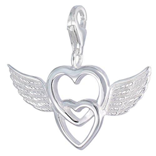MELINA Charms Pendentif coeur avec des ailes, double cœur Argent 9251801727