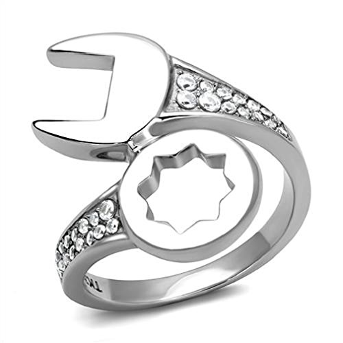 Doublebeez Jewelry Stainless Steel High Polished Cubic Zirconia Mechanic Wrench Biker Tool Bling Ring, Size 11
