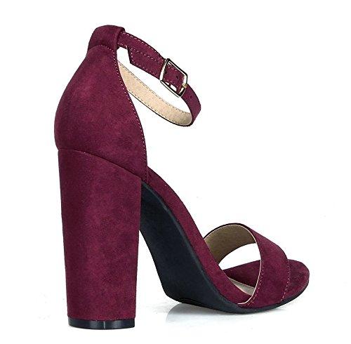 Purple Vegan Suede Ankle Strap Open Toe Chunky Heel Womens Shoes q6KbetsLxJ