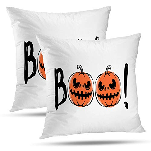 Batmerry Halloween Pillow Covers 18x18 inch Set of 2, Halloween Sound Grunge Scary Retro Greeting Motivational Quote Party Throw Pillows Covers Sofa Cushion Cover -