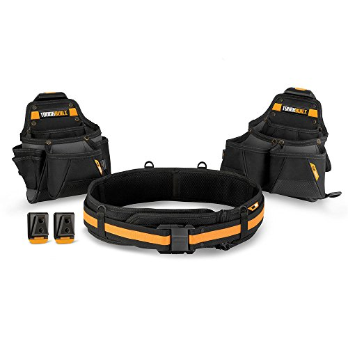 ToughBuilt - Tradesman Tool Belt Set - 3 Piece, Includes 2 Pouches, Padded Belt, Heavy Duty, Deluxe Organizer Premium Quality - 27 Pockets, Pry Bar Loop, 2 Patented ClipTech Hubs (TB-CT-111-3) (3 Tool Set)