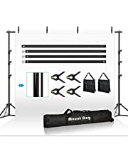 MOUNTDOG 2.6M x 3M/8.5ft x 10ft Photo Backdrop Stand Kit Photography Studio Background Support System with 4 Clamps Carrying Case Heavy Duty Stand for Video Shooting Portrait