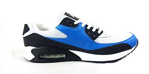 UK9 44 deportivas con casual Zapatillas hombre textil cordones Blanco Black para EUR estilo Blue q6ATaUz