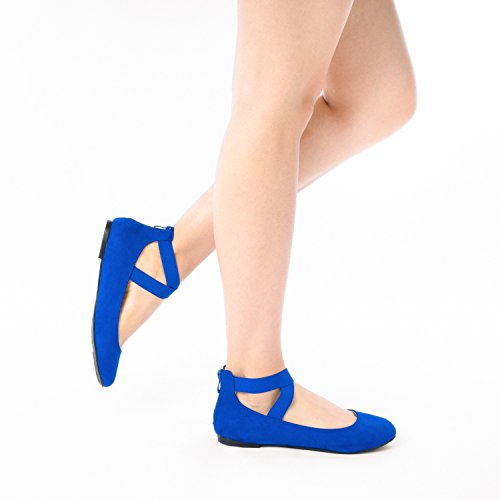 Flats Blue DREAM Ankle Royal Women's Fashion Straps Sole Shoes Elastic PAIRS Stretchy rUxZr8
