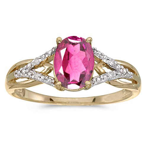 Jewels By Lux 14k Yellow Gold Genuine Birthstone Solitaire Oval Pink Topaz And Diamond Wedding Engagement Ring - Size 8.5 (1.33 Cttw.)