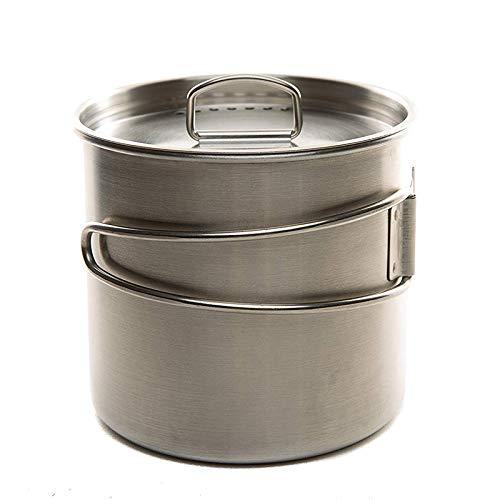 SODIAL Inoxidable Taza de Mochilero de C/ámping Conjunto de Cocina Maceta con Tapa Ventilada Manijas Plegables para Senderismo Camping