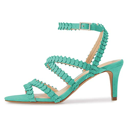 Shoes Chic Low Women Buckle Straps Heel YDN Stiletto Ankle with Turquoise Pumps Sandals Slingback 5RvxqxpwH