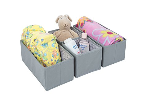 SbS Fabric Drawer, Storage, Motor-home Organizer Boxes Cubes Bins. Store socks ties underwear gloves bras tights bibs and diapers - Spanish Gray with Feather Leaf - 4 Pack (2 Medium, 2 Small) by SbS