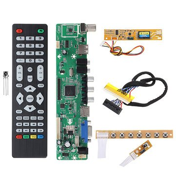 Driver Controller Board - Driver Board Lcd - V56 Universal TV Controller Driver Board PC/VGA/HD/USB Interface+7 Key Board+Backlight Inverter+1ch 6-bit 30pin LVDs Cable ( Tv Control Board )