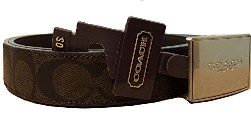 Coach Signature Leather Coated Canvas Lozenge Plaque Heritage Reversible Belt 66111