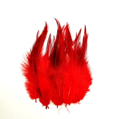 100pcs Saddle Feathers Hackle Rooster Feathers Dyed Neck Feathers for Craft DIY Pendant Earrings Jewelry Costume Dream Catcher 5-6 Inch (Red)