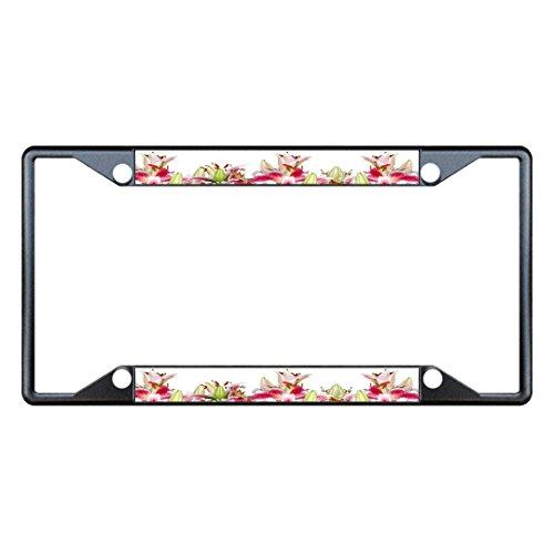 Sign Destination Metal License Plate Frame 4 Holes Stargazer Lily Flower Car Auto Tag Holder - Black, One Frame