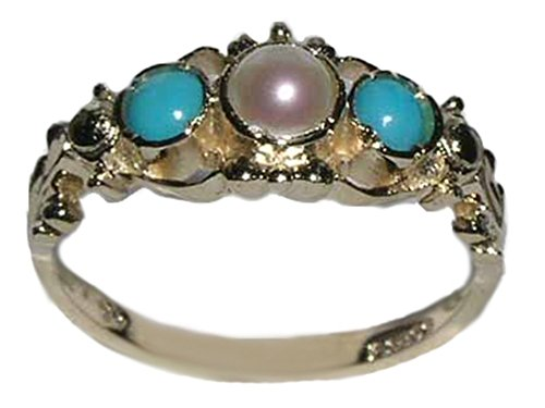 LetsBuyGold 10k Yellow Gold Cultured Pearl & Turquoise Womens Promise Ring - Size 9 ()