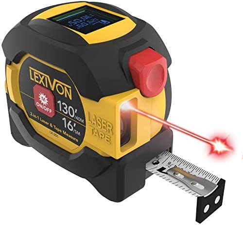 LEXIVON 2 in 1 Digital Laser Tape Measure 130ft 40m Laser Distance Meter Display On Backlit LCD Screen with 16ft 5m AutoLock Measuring Tape Ft Inch Fractions M mm LX-201