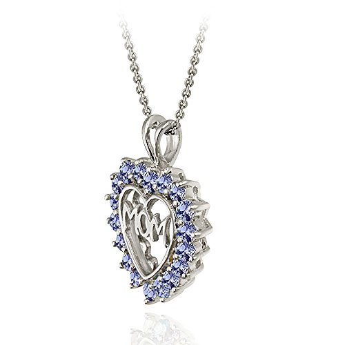 Ice Gems Sterling Silver Tanzanite MOM Heart Pendant Necklace