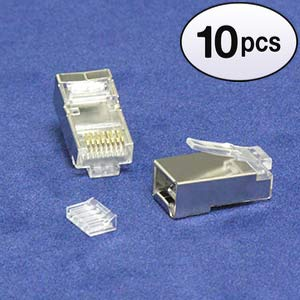 GOWOS (10 Pack) RJ45 Cat.6 Shielded Plug Solid 50 Micron 3-Prong w/Inserter 100pk