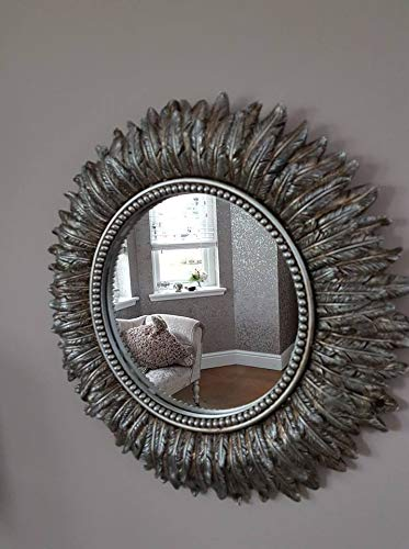 3eb3648fa4d8 HomeZone Vintage Retro Shabby Chic Style Rounded Feathered Wall Mirrors  Angel Wings Heart Shaped Feathered Rounded