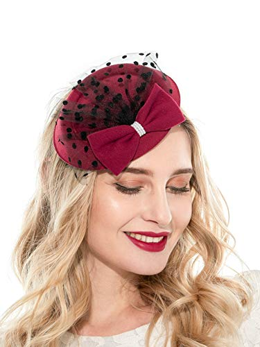 Zivyes Fascinator Hats for Women Pillbox Hat with Veil Headband and a Forked Clip Tea Party Headwear (Z1-Burgundy) -