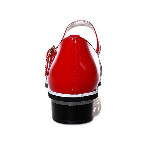 Amoonyfashion Kvinna Mjukt Material Spänne Sluten Tå Låga Klackar Diverse Färg Sandaler Röda