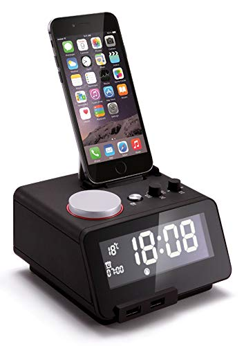 Homtime Docking Station Speaker with Alarm Clock Radio Bluetooth Dual USB Charger for iPhone x 8plus 8 7plus 7 iPod for Bedrooms MFi Certified (Black)