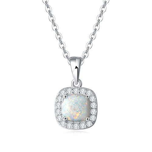 (Carleen 14K White Gold Plated 925 Sterling Silver CZ Cubic Zirconia/Created Opal Halo Pendant Necklace for Women Girls, 18
