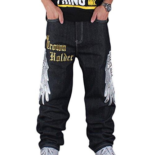 Ricamo Nero Pantaloni Primavera Hop Denim Uomo Stampa Charming Danza Hip Squisito Baggy Dexinx Jeans TSO5qwx